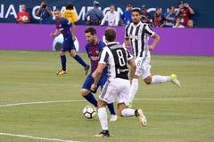 2017 Int`l Champions Cup- FC Barcelona vs Juventus. Exhibition Soccer: The 2017 ICC contest pits Spanish La Liga powerhouse FC Barcelona vs Italian Serie A royalty free stock photos