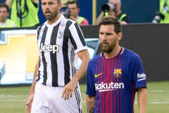 2017 Int`l Champions Cup- FC Barcelona vs Juventus. Exhibition Soccer: The 2017 ICC contest pits Spanish La Liga powerhouse FC Barcelona vs Italian Serie A royalty free stock image