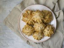 A int?ressant form? le mini tarte de viande fra?che Tartes d?licieux de samosa avec de la viande du plat sur le fond gris Menu, r images stock