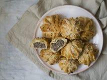 A int?ressant form? le mini tarte de viande fra?che Tartes d?licieux de samosa avec de la viande du plat sur le fond gris Morceau images stock
