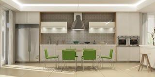 Int?rieur moderne de salon avec la cuisine dans une maison ou l'appartement dans des couleurs grises avec des accents verts images stock