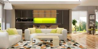Int?rieur moderne de salon avec la cuisine dans une maison ou l'appartement dans des couleurs grises avec des accents verts photo stock