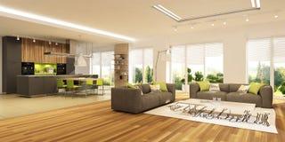 Int?rieur moderne de salon avec la cuisine dans une maison ou l'appartement dans des couleurs grises avec des accents verts photos libres de droits