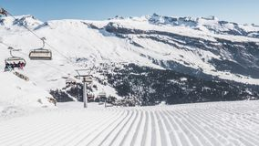 Intact Slope Laax Corduroy Lift Timelapse 4k. Timelapse of a slope in LAAX, Switzerland stock footage