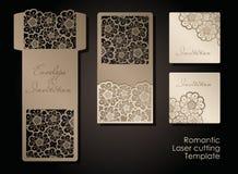 Intage信封和邀请的激光切口 透雕细工盖子和卡片设计婚姻的,情人节,浪漫 向量例证