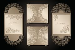 Intage envelope and invitation for laser cutting. Openwork cover and card design for wedding, Valentine`s Day, romantic royalty free illustration