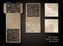 Intage envelope and invitation for laser cutting. Openwork cover and card design for wedding, Valentine`s Day, romantic vector illustration
