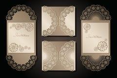 Intage kuvert och inbjudan för laser-klipp Openwork räkning och kortdesign för att gifta sig, valentin dag, romantiker royaltyfri illustrationer