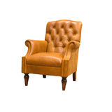 Intage leather armchair. Isolated on white Royalty Free Stock Photo