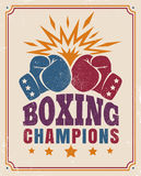 Intage poster for a boxing. Vector vintage poster for a boxing with two gloves on old paper royalty free illustration