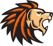 Intaglio in legno arrabbiato di Lion Big Cat Growling Head Fotografia Stock Libera da Diritti