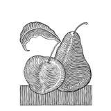 Intaglio in legno della pera e del Apple Fotografia Stock Libera da Diritti