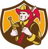 Intaglio in legno di Axe Hose Crest del pompiere del vigile del fuoco illustrazione vettoriale