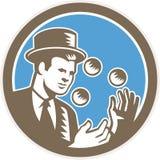 Intaglio in legno di Juggling Balls Circle delle giocoliere Fotografie Stock Libere da Diritti