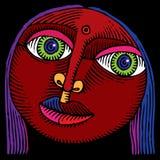 Intaglio in legno indiano di colore della testa della ragazza Immagini Stock Libere da Diritti
