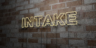 INTAKE - Glowing Neon Sign on stonework wall - 3D rendered royalty free stock illustration Stock Photos