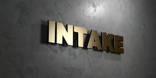 Intake - Gold sign mounted on glossy marble wall  - 3D rendered royalty free stock illustration. This image can be used for an online website banner ad or a Royalty Free Stock Image