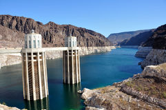 Intake tower. The intake towers at Hoover Dam on the border between the U.S. states of Arizona and Nevada Royalty Free Stock Photo
