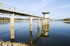 Intake tower. In Vigia Dam, Alentejo, Portugal Stock Photos