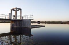 Intake tower. In a small dam, Alentejo, Portugal Stock Photos