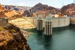 Intake towers at Hoover Dam. Landscape of the Hoover Dam with focus on the Intake towers royalty free stock photography