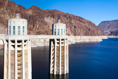 Intake towers and Lake Mead Stock Photo