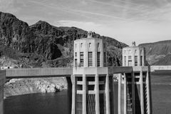 Intakes of the Hoover dam. Hoover dam is located in the limit between Nevada and Arizona royalty free stock images