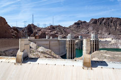 Intakes of the Hoover dam. Hoover dam is located in the limit between Nevada and Arizona royalty free stock photos