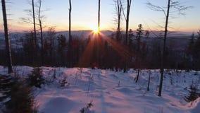 Intakt antenn 4k för landskap för snövintersolnedgång stock video