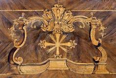 Intarsia - detalhe do altar foto de stock
