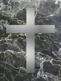 Intarsio trasversale d'argento con marmo nero Fotografia Stock Libera da Diritti