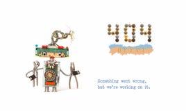 inte-funnen sida för 404 fel Faktotumrobot med plattång på vit bakgrund Textmeddelandet något gick fel, men vi är Royaltyfri Fotografi