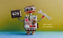 inte-funnen sida för 404 fel Idérik designrobot, kort för handskiftnyckelminne blå green för bakgrund Fixandeunderhåll Arkivbild