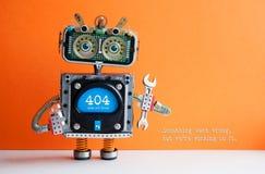 inte-funnen sida för 404 fel Plattång för skiftnyckel för militärrobothand på orange bakgrund Textmeddelandet något gick fel royaltyfri bild