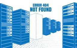 Inte-funnit fel 404 Vektorillustrationen av serverorna i blåtten färgar på en vit bakgrund Royaltyfri Fotografi