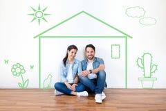 Inteckna, inhysa och fastighetståenden för par för begreppsbarn arkivbild