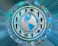 Inteface e siluette di Internet Immagini Stock Libere da Diritti