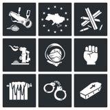 Integração europeia dos ícones do vetor de Ucrânia ajustados Fotos de Stock