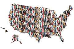 Integração multicultural do grupo de pessoas do mapa do Estados Unidos dos EUA Fotos de Stock Royalty Free