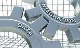 Integración de datos en el mecanismo de los engranajes del metal fotos de archivo