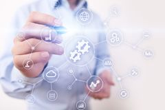 Integracja danych diagrama i proces automatyzaci interneta technologii biznesowy pojęcie na wirtualnym ekranie obrazy royalty free