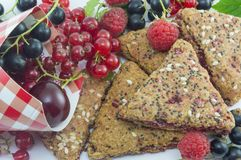 Integral biscuits with bunch of  fresh currant cherries and rasp Royalty Free Stock Photography