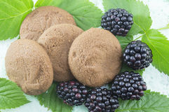 Integral biscuits and fresh blackberries on blackberry leaves Stock Photos