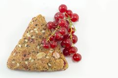 Integral biscuits with fresh currant and red berry fruit isolate Royalty Free Stock Photography