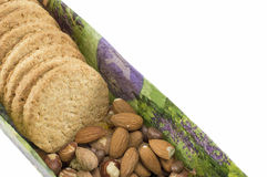 Integral biscuits and natural fresh hazelnuts Stock Image