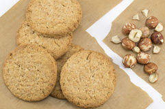 Integral biscuits and natural fresh hazelnuts Stock Images