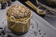Integral Bread with Sunflower on Black Table Royalty Free Stock Images