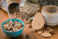 Integral breakfast of cookie and muesli stock photography