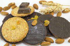 Integral chocolate cookies with almonds and wheat Royalty Free Stock Photo