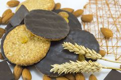 Integral chocolate cookies with almonds and wheat Royalty Free Stock Image